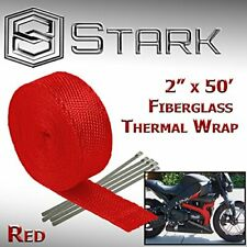 "2"" x 50FT Exhaust Header Fiberglass Heat Wrap Tape w/ 5 Steel Ties - Red (T)"