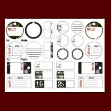 MAKING MEMORIES Rub-On Transfers IMAGES TAGS 2 sheets Black Red