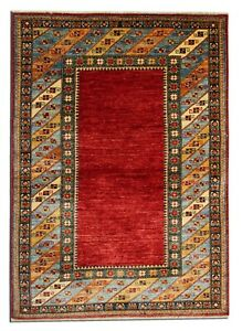 Handwoven Red Wool Carpet Traditional Geometric Area Rug- 122x170cm