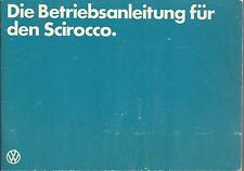 VW SCIROCCO 2 Betriebsanleitung 1982 Bedienungsanleitung Handbuch Bordbuch   BA