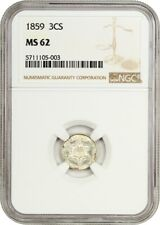 1859 3cS NGC MS62 - Underrated Date - 3-Cent Silver - Underrated Date