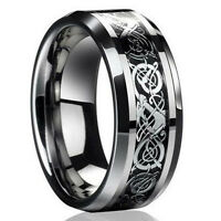 one Men Silver Celtic Dragon Titanium Stainless Steel Wedding Band Rings #8