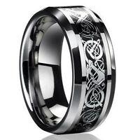 Fashion Men's Silver Celtic Dragon Titanium Stainless Steel Wedding Band Ring ❤