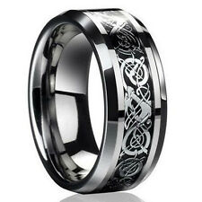 Men Silver Celtic Dragon Titanium Stainless Steel Wedding Band Rings size #8