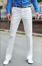 Men's Pants Solid Straight Pants Dress Suit Trousers Black White Silver Gray