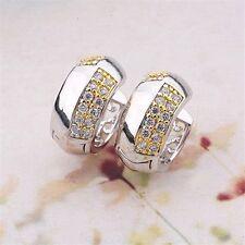 18K White & Yellow Gold Filled CZ Hoop Earrings (E-207)