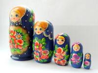 Set of 5 Vintage Russian Art Nesting Dolls Wood Stacking Matryoshka Hand Painted