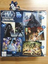 "STAR WARS SUPER 3D 5 JIGSAW PUZZLE PACK 150 PCS ea. 12"" x 9"" each NEW IN BOX"