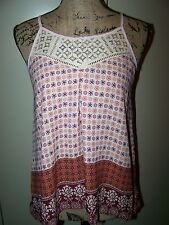 New Small Xhilaration Boho Hippie Gypsy Lace Tank Top Cami Blouse Burgundy Pink