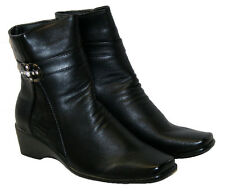 LADIES BLACK EVERYDAY CASUAL ANKLE BOOTS IN 5 STYLES WITH SIDE ZIP SIZES 3-8.