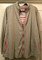 Denim Co Active Twin Set, Tank And Zip Up Jacket, Sz 1X, Gray And Pink