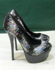 "new Black/Silver Sequins 6""High Heel 2""Platform Round Toe Sexy Shoes Size  6.5"
