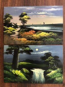 2 X JAPAN OLD POSTCARD COLLECTION LOT HAND PAINTED VILLAGE RIVER !!