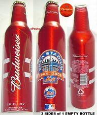 2008 NR! MLB BASEBALL SHEA STADIUM NEW YORK METS BUDWEISER ALUMINUM BEER BOTTLE