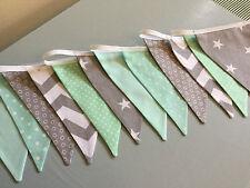 GREY CHEVRON MINT GREEN STAR HANDMADE FABRIC BUNTING baby modern vintage nursery