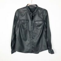 Harley Davidson Black Coated Faux Leather Shirt Medium