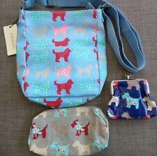 Dog Oil Cloth Bag Purse Pencil Case Messenger Makeup School blue set job lot