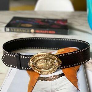 GIANNI VERSACE belt black studded w/ oval Medallion buckle 90/36 1992 Elton John