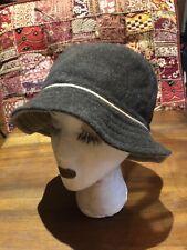 Vintage Antique Brown Beige Wool Felt Reversible Cloche Hat