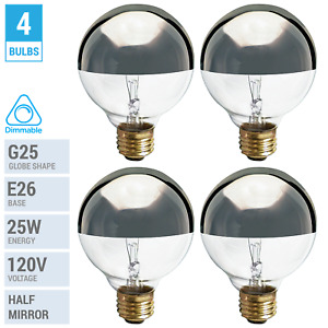4 Pack 25G25 Globe Bulbs 120V 25W G25 Medium E26 Half Chrome Mirror Silver Crown