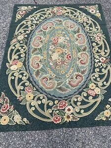 "Large 76""x98"" Antique handmade Looped / Hooked rug Floral"