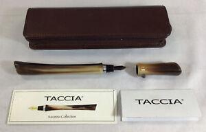 Taccia Savanna Collection Buffalo Horn Fountain Pen w/ Leather Taccia Zip Case