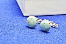 Stone Cuff Links Sterling Silver Leland Blue