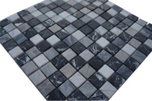 Marmor Mosaik Fliesen Naturstein Matte Schwarz / Grau / Weiss Boden Wand, 662M