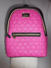 Betsey Johnson Quilted Hearts Winged Fuschia/Black Backpack Travel School Work