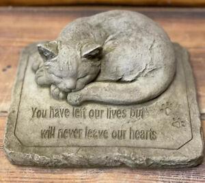 STONE GARDEN MEMORIAL CAT WITH VERSE STATUE ORNAMENT