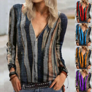 Womens Pullover Tee Ladies Holiday Zipper Loose Blouse Striped Work Shirt Tops