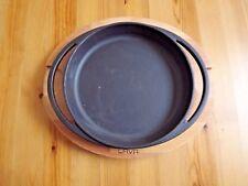 "Lava Signature Enameled 8"" Round Cast Iron Fajita Serving Pan W/ Wood Plate"