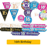 AGE 16 - Happy 16th Birthday Party Decorations (Oaktree) Banners & Bunting