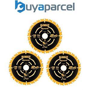 Dewalt DT10399 Set of 3 Corded Circular Saw Blades 190 x 30mm x 24 Tooth Extreme