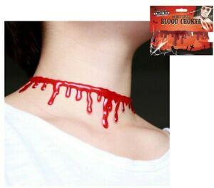 Halloween Neck Throat Cut Choker Devil Fancy Dress Bleeding Blood Necklace