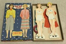 """Vintage """"Teen Time Dolls"""", 2 Girls w/ Cut Out Clothes. Circa 1950's. Not Repro"""
