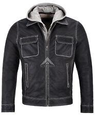Men's Real Leather Jacket Buffalo Skipper Biker Style Slim Fit Hood 165