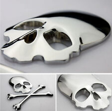 3D Metal Skull & Bones Car, Truck, or Motorcycle Decal Sticker in Silver Chrome