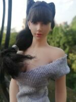 Female 1/6th Scale Head Sculpt Carved Long black Hair Fit 12'' Figure Body Toys