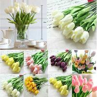 Tulip Artificial Flower Latex Real Bridal Wedding Bouquet Decor M5B3
