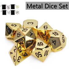 7Pcs/Set Antique Metal Polyhedral Dice Poker Car Role Playing Game Party W/ Bag