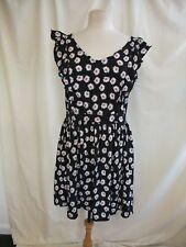Ladies Dress Heart & Soul, UK 14 EU 42, black floral polyester, summer 7386