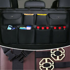 leather Car Seat Back Multi-Pocket Storage Bag Organizer Holder Accessory Black