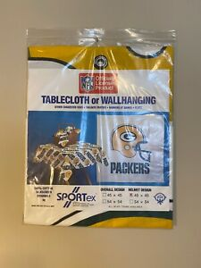 """Green Bay Packers Football Tablecloth Wall Banner Hanging 45""""x45"""" Vintage decor"""