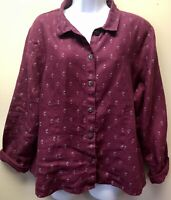 Flax 100% Linen Burgundy Wine Printed Button Front Blouse Top Women's Size M