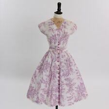 Vintage 1950s original Ramar cotton dress floral print UK 6 8 US 2 4 XS