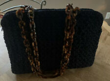 Carrie Forbes Large Black Crochet Shoulder Handbag w/ Faux Tortoise Chain Strap