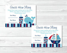 """Pirate Ship Nautical Whale Printable Baby Shower """"Guess How Many?"""" Game Cards"""