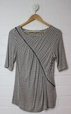 VERONICA MAINE Grey White Striped Zippered Tee Size M (Size 12)