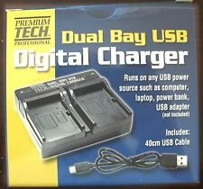 Dual Bay USB Charger for Sony NP-FH50 NPFH70 NP-FH100 NP-FV50, NP-FV70, NP-FV100